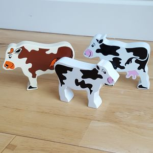 Wooden Farm Animals Cows - traditional toys & games