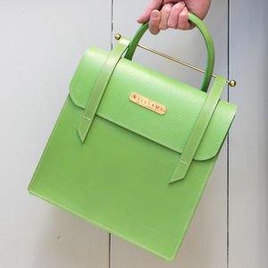 British Handmade Green Leather Bag