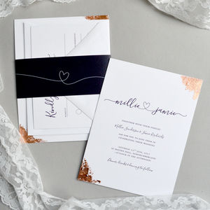 Copper/Gold/Silver Hearts Wedding Invitation - wedding stationery