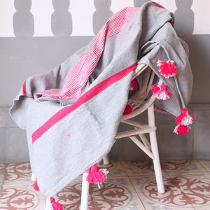 Fuchsia Stripey Cotton Blankets With Pompoms - throws, blankets & fabric