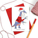 Santa Claus Dinosaur Christmas Card