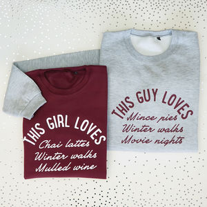 Personalised This Girl And Guy Loves Sweatshirt Set - winter sale
