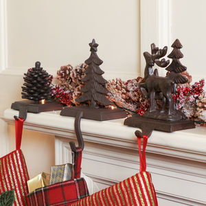 Walk In The Woods Cast Iron Christmas Stocking Holders