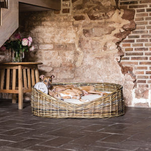 Greywash Rattan Dog Basket And Reversible Mattress - pet beds baskets