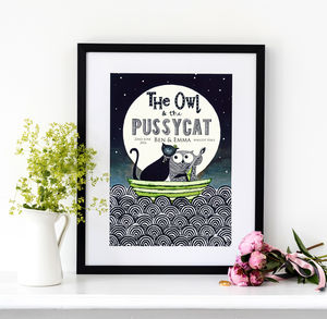 Personalised Owl And Pussycat Wedding Print - animals & wildlife