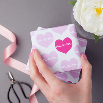 Mum Love Heart Wrapping Paper