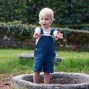 Ocean Blue Linen Dungaree Shorts