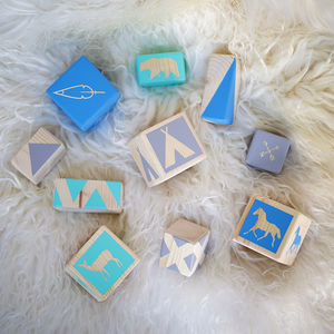 Into The Wild Wooden Stacking Blocks In Blues - toys & games
