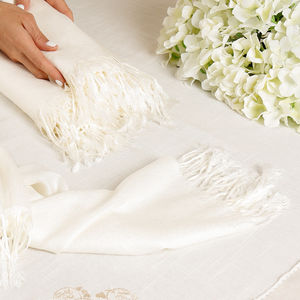 Luxury Ivory Pashmina Shawl - best dressed guest