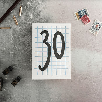 30 Tall Number Letterpress Birthday Card