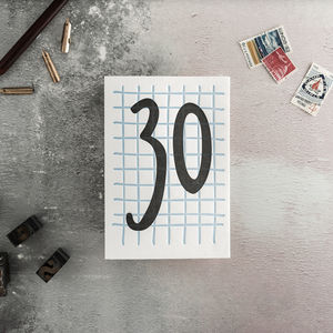 30 Tall Number Letterpress Birthday Card - shop by category