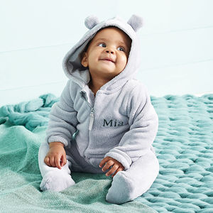 Personalised Bear Fleece Onesie - new baby gifts