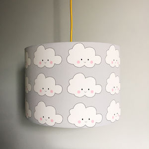 Kawaii Cloud Handmade Childrens Lampshade In Cloud Grey