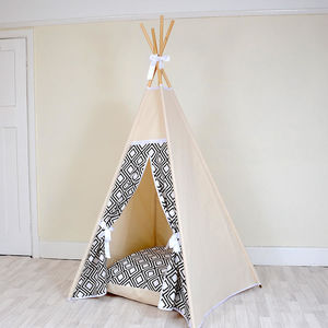 Geo Black And White Mono Teepee Tent - tents, dens & teepees