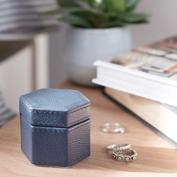 Personalised Leather Ring Box Hexagonal Ink Blue