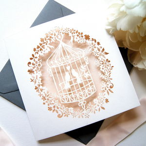 Blush Lovebirds Birdcage Laser Cut Card - shop by category