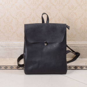Minimalist Genuine Grain Leather Backpack Personalised
