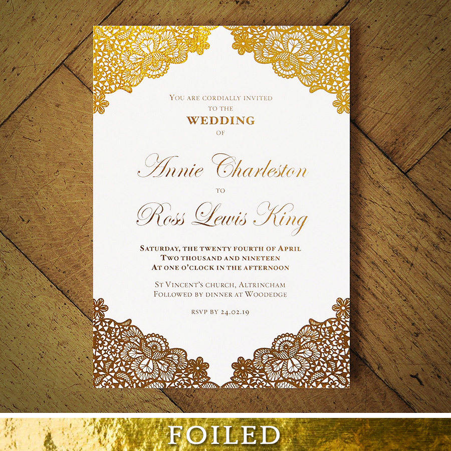 versailles foiled lace wedding invitation by feel good wedding