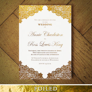 Versailles Foiled Lace Wedding Invitation - save the date cards