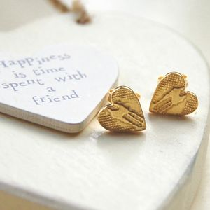 22ct Gold Vermeil Heart Shaped Earrings - wedding jewellery