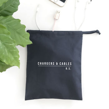 Slate Grey Cotton Drawstring cable bag