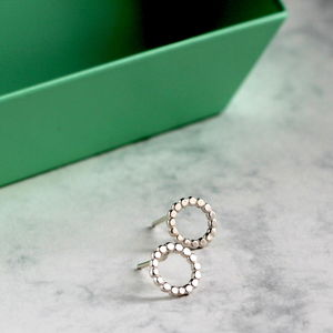 Dotted Sterling Silver Studs - earrings