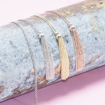 Long Tassel Necklaces In Gold, Rose Gold And Silver