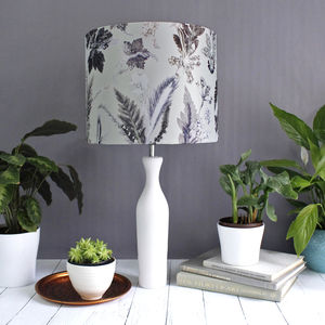White And Silver Floral Lampshade In Table Or Pendant - lamp bases & shades