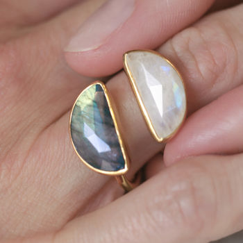Crescent Moon Gemstone Ring