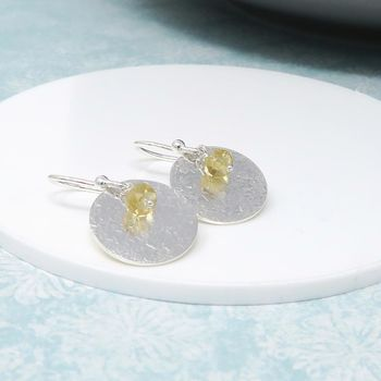 Citrine And Silver Disc Earrings 'Luna'