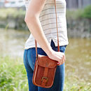 Personalised Mini Leather Messenger Bag