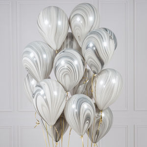 Pack Of 14 Marble Monochrome Party Balloons - adults birthday