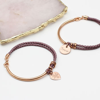 Personalised Silk And Rose Gold Charm Bangle