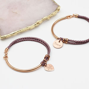 Personalised Silk And Rose Gold Charm Bangle - rose gold jewellery