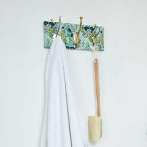 Spring Print Mismatched Coat Rack With Three Hooks - hooks, pegs & clips