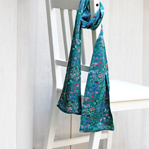 Botanical Meadows Long Double Sided Silk Scarf