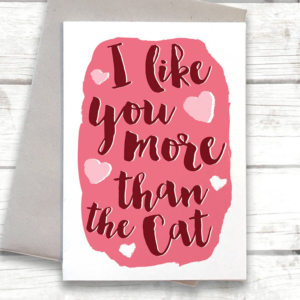 Funny I Love You More Than The Cat Valentines Card By Alexia Claire