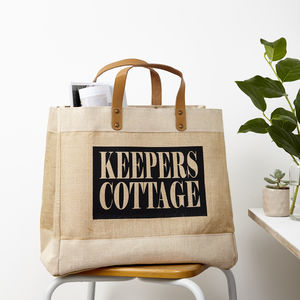 Personalised Address Jute Storage Bag - laundry room