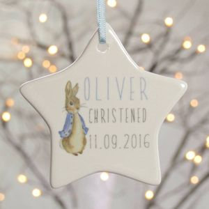 Christening Gift Porcelain Ceramic Star - hanging decorations