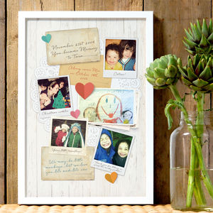 Personalised Mum's Memory Board Print - gifts for mothers