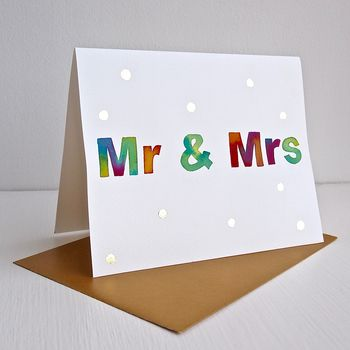 Handmade Original Watercolour Mr And Mrs Wedding Card