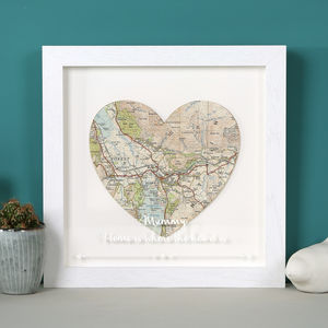 Personalised Map Location Heart With Etched Glaze - posters & prints