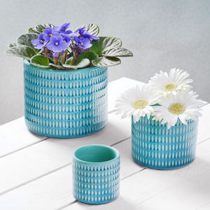 Three Blue Ceramic Planters