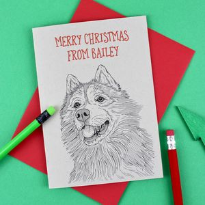 Husky Dog Personalised Christmas Card - cards & wrap