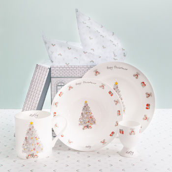 Personalised Christmas Morning Bone China Breakfast Set