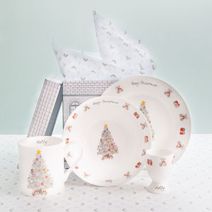 Personalised Christmas Morning Bone China Breakfast Set - children's tableware