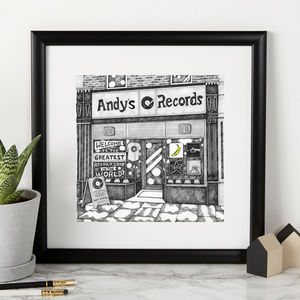 Personalised Record Shop Print