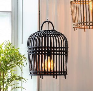 Black Bamboo Cage Pendant Light Two Sizes - ceiling lights