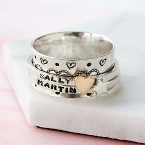 Personalised Love Hearts Spinner Ring