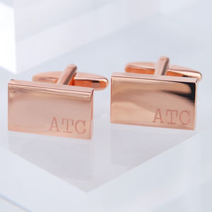 Rose Gold Small Initials Cufflinks - men's accessories